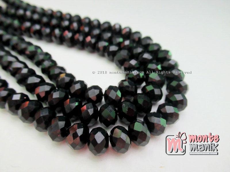 Manik Kristal Ceko Donat Doff Hitam 8 mm (KRISTAL-041)