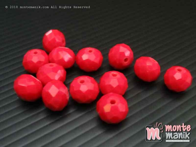 Manik Kristal Ceko Donat Doff Merah 10 mm (KRISTAL-045)