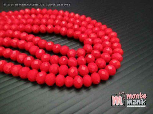 Manik Kristal Ceko Donat Doff Merah 6 mm (KRISTAL-038)