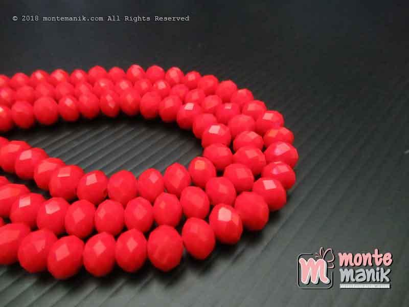 Manik Kristal Ceko Donat Doff Merah 8 mm (KRISTAL-042)