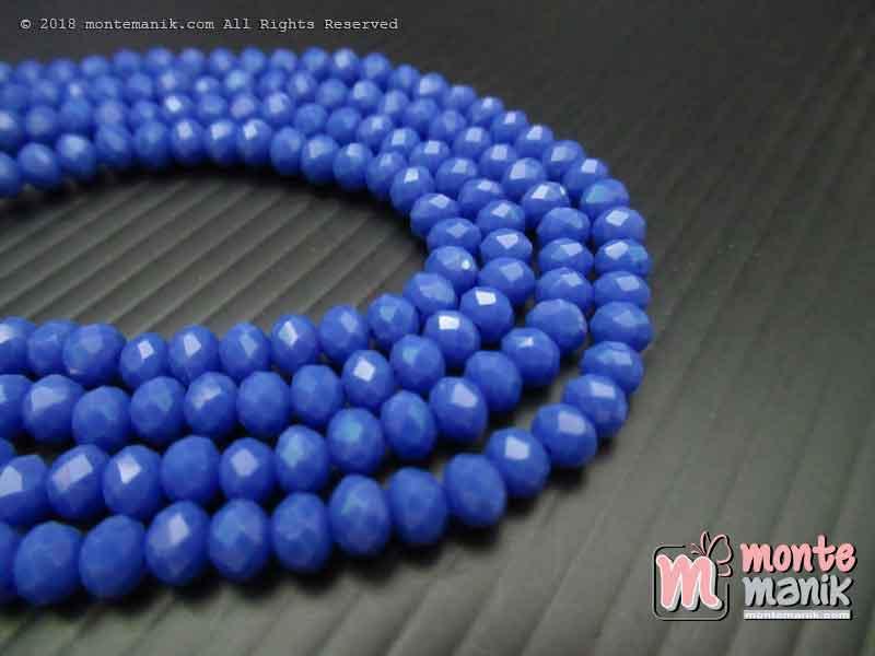 Manik Kristal Ceko Donat Doff Persian Blue 4 mm (KRISTAL-030)