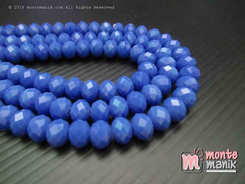 Manik Kristal Ceko Donat Doff Persian Blue 8 mm (KRISTAL-037)