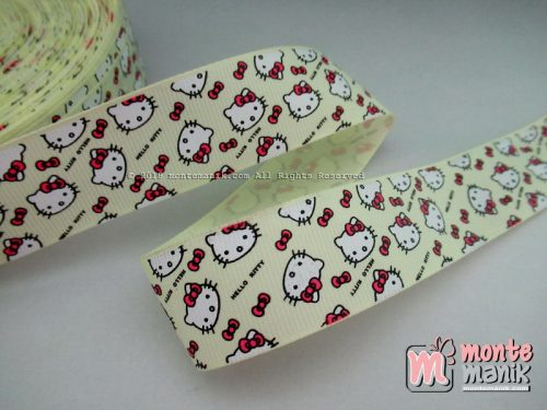 Pita Grosgrain Motif Hello Kitty 1 inc Kuning Muda (PITA-219)