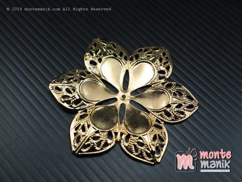 3 Pcs Ornamen Lempengan Bunga Dahlia Emas 6 cm (OLT-035)