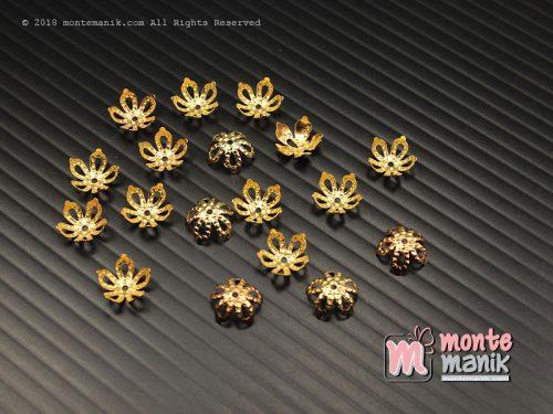30 Pcs Cangkang Bunga Mahkota Lancip 8 mm Emas (CKB-032)