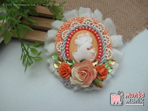 Ataya Cameo Orange Brooch (PDL -037)