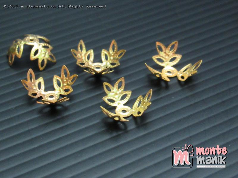 Cangkang Bunga Alur Daun 12 mm Gold (CKB-028)