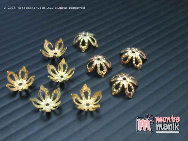 Cangkang Bunga Mahkota Lancip 8 mm Emas (CKB-032)