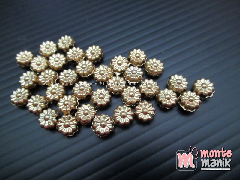 Parel Bunga Kincir Pipih Gold 6 mm (PAREL-06)