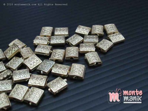Parel Segi Empat Ukir Gold 10 mm (PAREL-011)