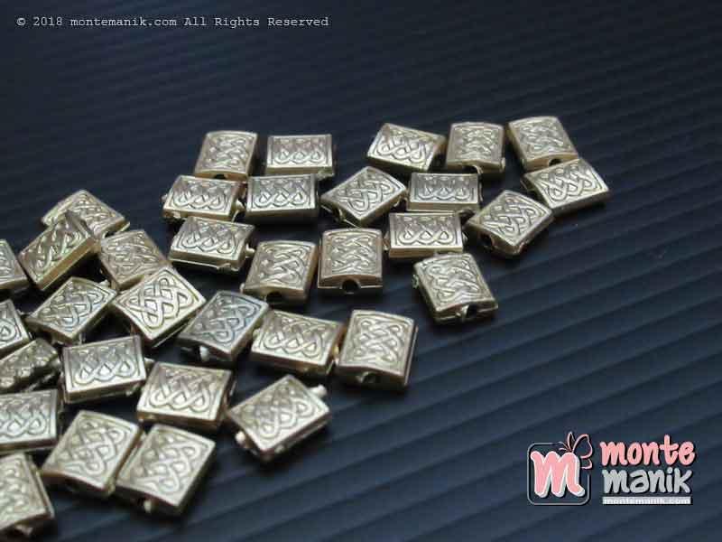 Parel Segi Empat Ukir Gold 10 mm (PAREL-011)