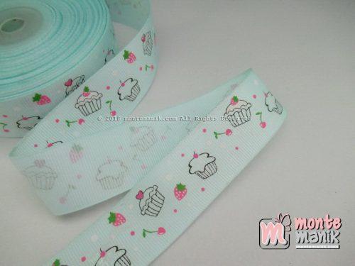 Pita Grosgrain Sweety Cupcakes Soft Aqua 1 inc (PITA-223)