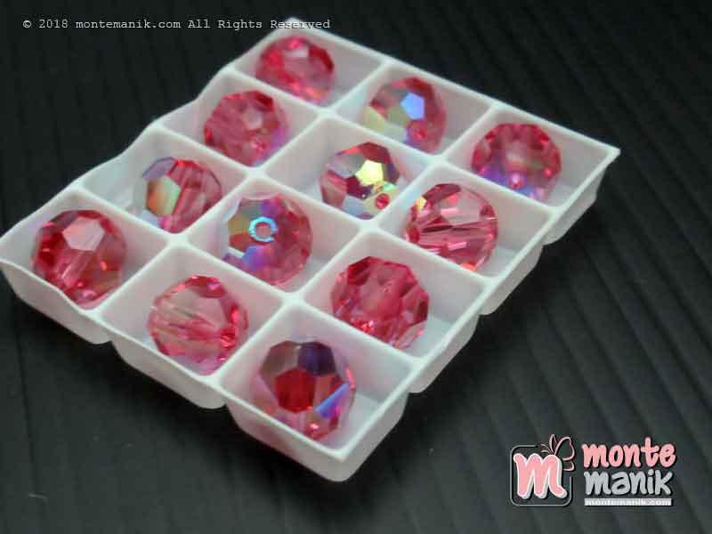 Kristal swarovsky Round Beads 8 mm Pink Rose AB 12-5000