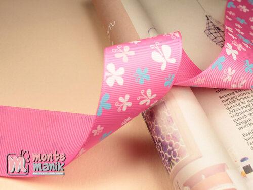 1 Meter Pita Grosgrain Motif Kupu-kupu Hot Pink 3,8 cm (PITA-226)