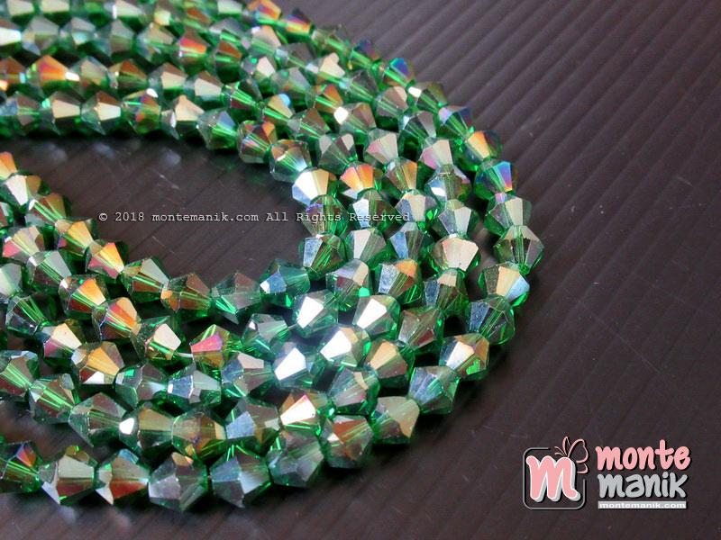 Manik Kristal Ceko Bicone 6 mm Hijau botol (KRISTAL-053)
