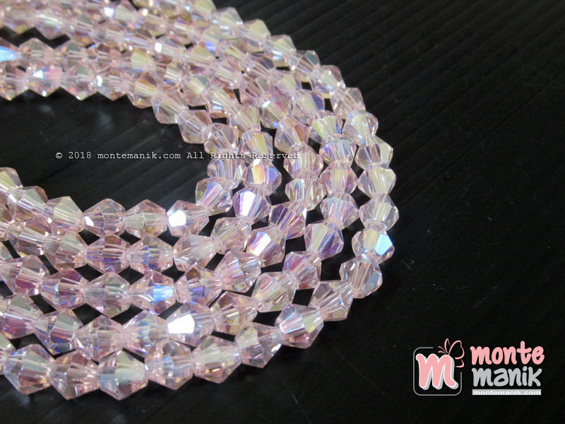 Manik Kristal Ceko Bicone 6 mm Pink (KRISTAL-054)