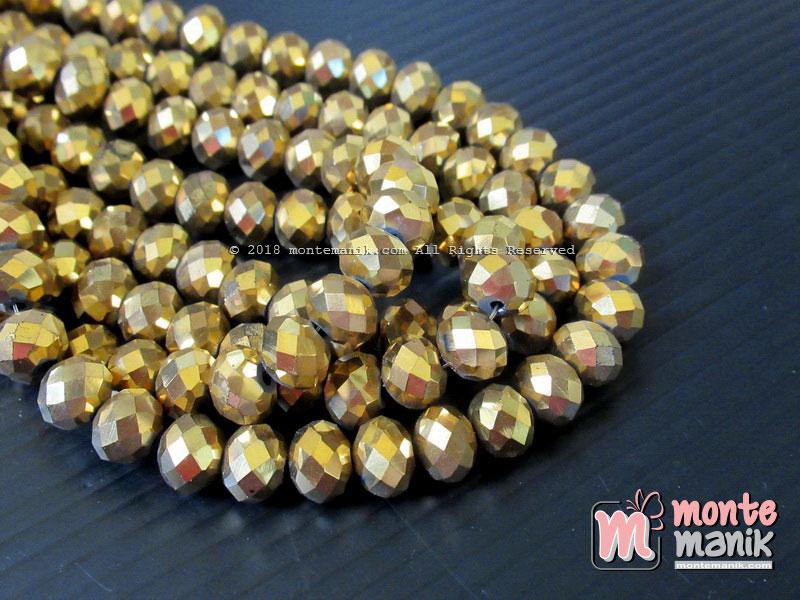 Manik Kristal Ceko Donat 8 mm Warna Gold Metalik (KRISTAL-057)