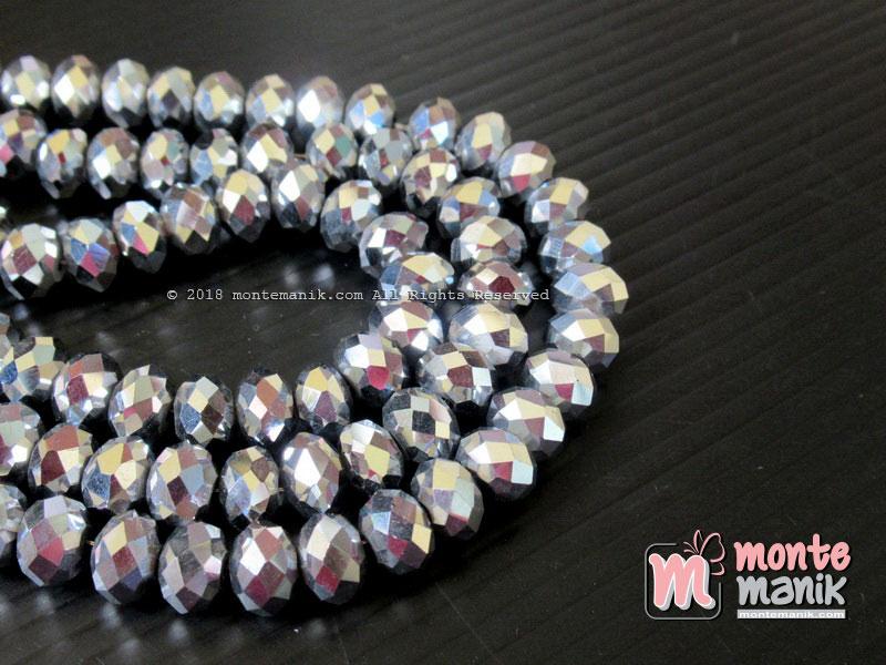 Manik Kristal Ceko Donat 8 mm Warna Silver Metalik(KRISTAL-056)