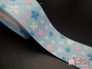 Pita Grosgrain Motif Kupu-kupu Biru muda 3,8 cm (PITA-225)