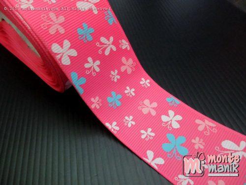 Pita Grosgrain Motif Kupu-kupu Hot Pink 3,8 cm (PITA-226)