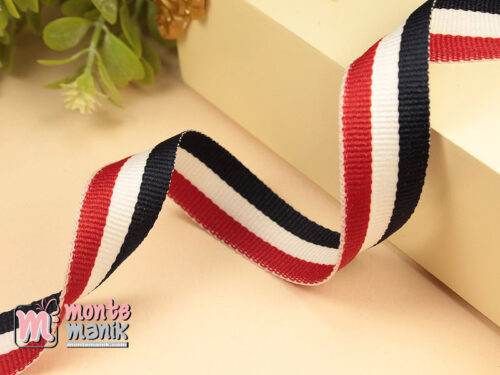 1 Yards Pita Trim striped Navy putih dan merah 2 cm (PITA-231)