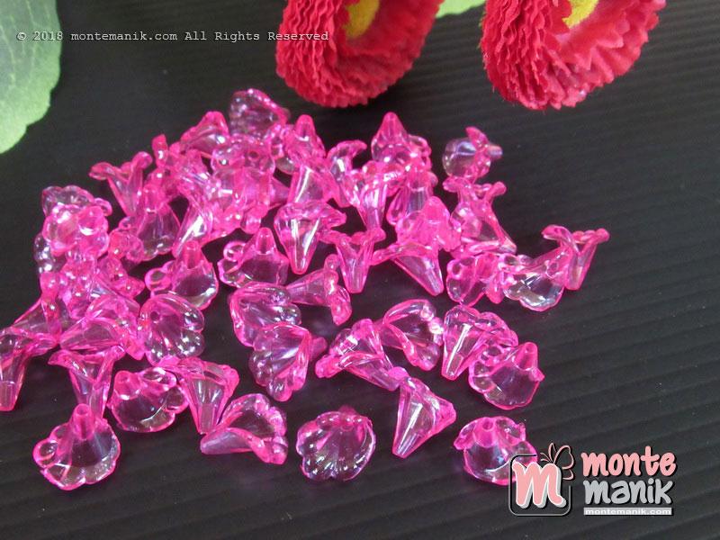 Bunga Akrilik terompet kecil pink bening (AKR-082)