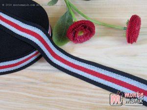 Pita Trim striped Biru Merah dan putih 2 cm (PITA-229)