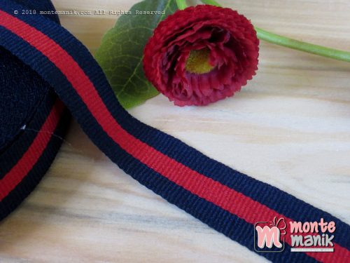 Pita Trim striped Navy dan merah 2 cm (PITA-230)