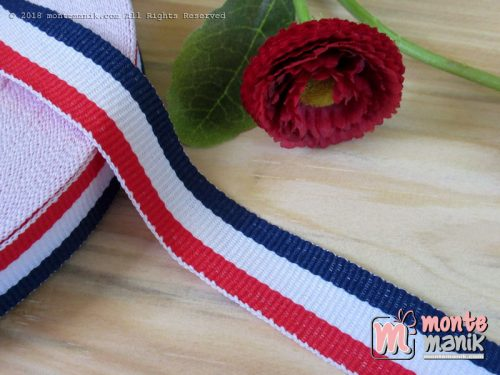 Pita Trim striped Navy putih dan merah 2 cm (PITA-231)