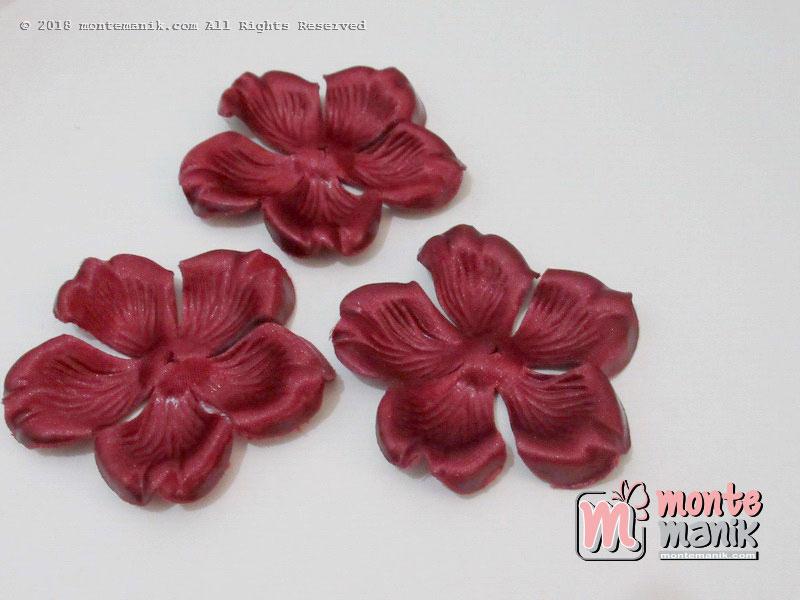 10 lembar Alpikasi Kelopak bunga Mangkok maroon 6 cm (APB-054)