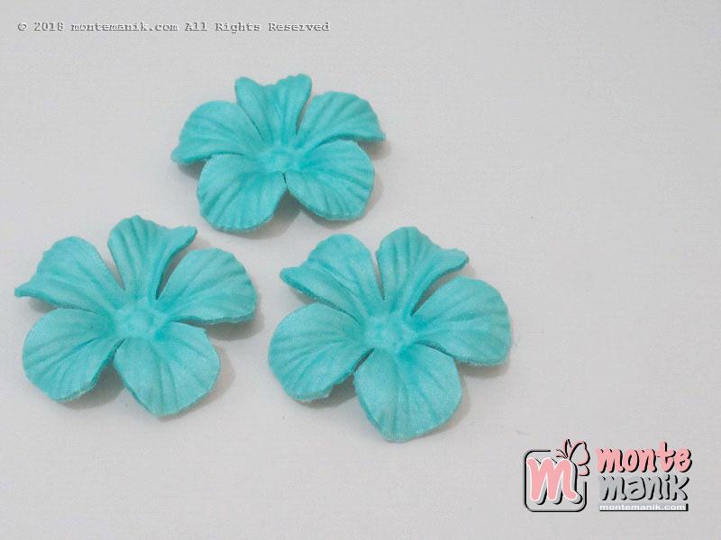 10 lembar Alpikasi Kelopak bunga Satin Biru tosca 5 cm (APB-033)