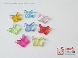 Manik Akrilik Kupu-kupu bening 12 mm (AKR-084)