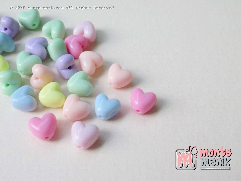 Manik Plastik Hati Warna Soft 10 mm (PLA-052)