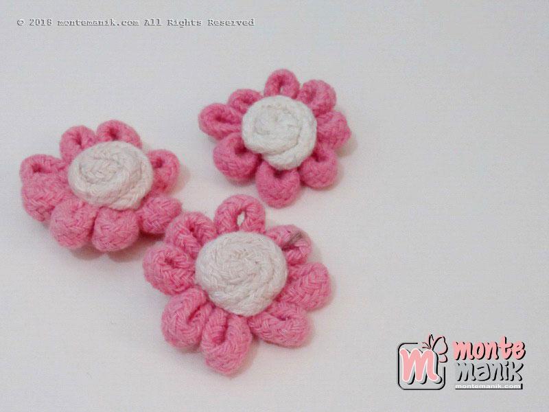 Per biji Aplikasi Bunga Tali pink 4,5 cm (APB-065)