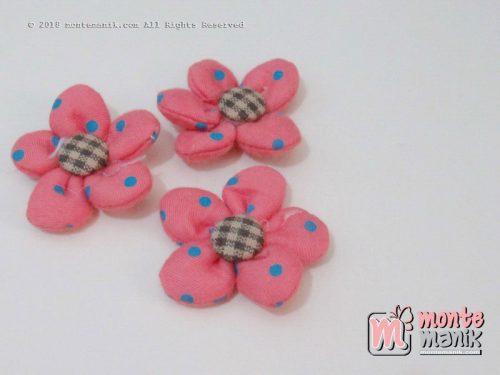 Perbiji Aplikasi Bunga Kain polka Dusty pink 3,5 cm (APB-066)