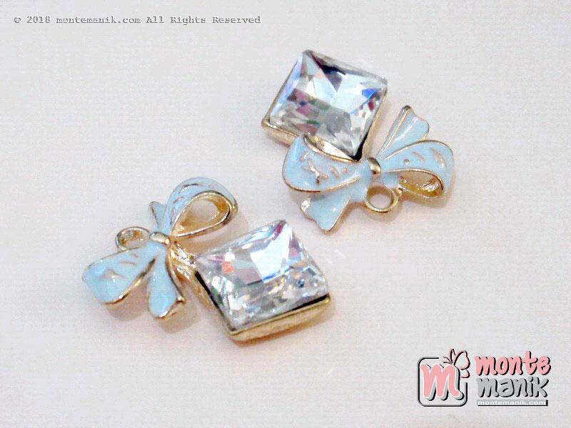 1 Pcs Charm logam Pita Biru hias diamond 18 mm x 2 cm (ALA-048)