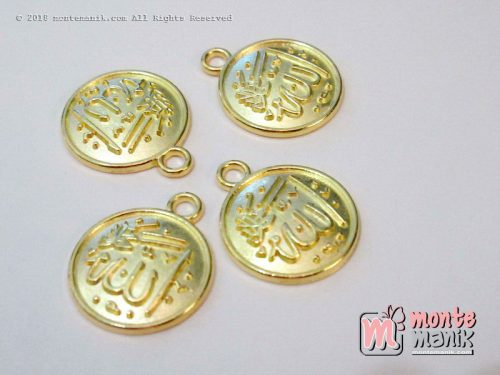 3 Pcs Charm logam Allah Emas 14 mm (ALA-042)