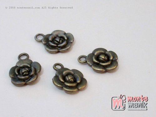 3 Pcs Charm logam Bunga Bronze 10 mm (ALA-043)
