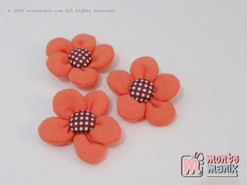 Perbiji Aplikasi Bunga Kain Orange 3,5 cm (APB-070)