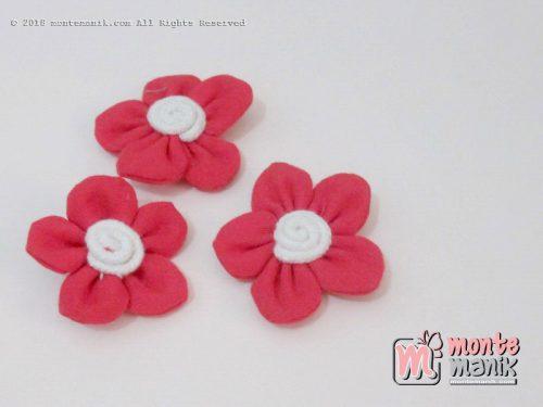 Perbiji Aplikasi Bunga Kain merah 3,5 cm (APB-069)