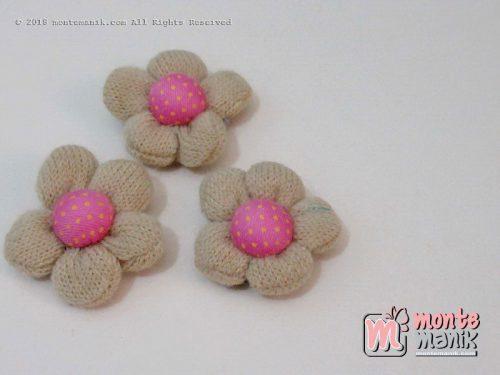 Perbiji Aplikasi Bunga Rajut coklat muda 3,5 cm (APB-067)