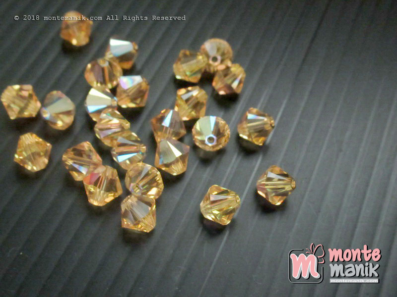 1 Pcs Kristal Swarovsky Bicones Beads 6 mm Light Topaz AB 5328