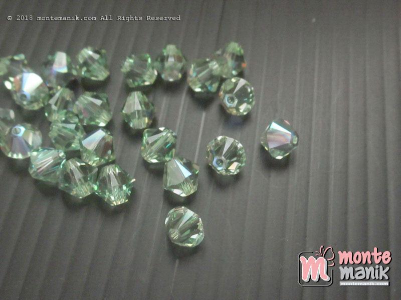 1 Pcs Kristal Swarovsky Bicones Beads 6 mm Pweridot AB 5328