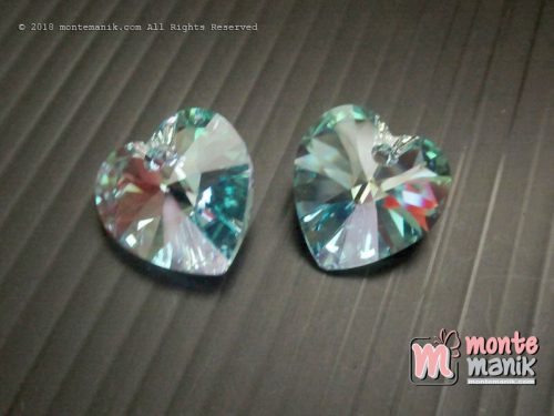 1 Pcs Kristal Swarovsky Heart Pendants 14 mm Aquamarine AB 6228