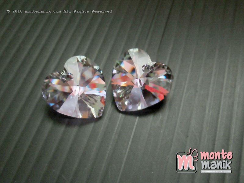 1 Pcs Kristal Swarovsky Heart Pendants 14 mm Light Chrome AB 6228