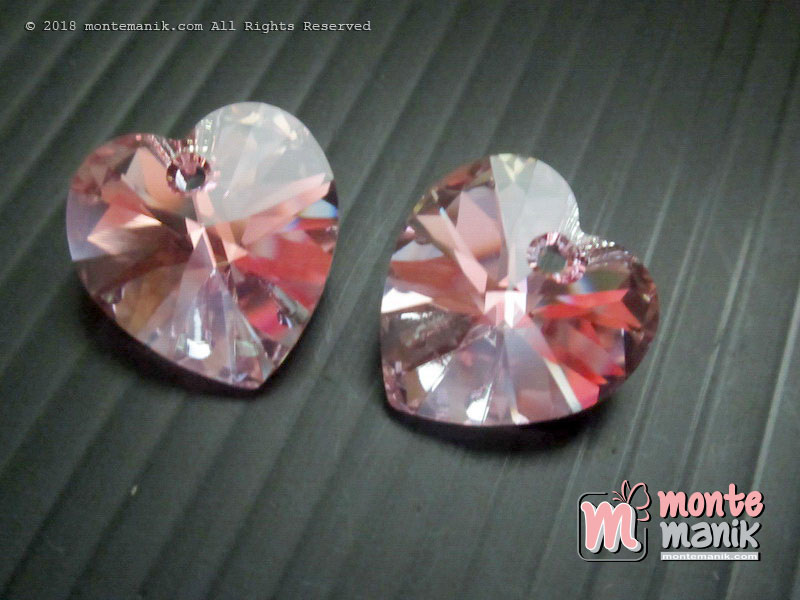 1 Pcs Kristal Swarovsky Heart Pendants 14 mm Lt Rose AB 6228