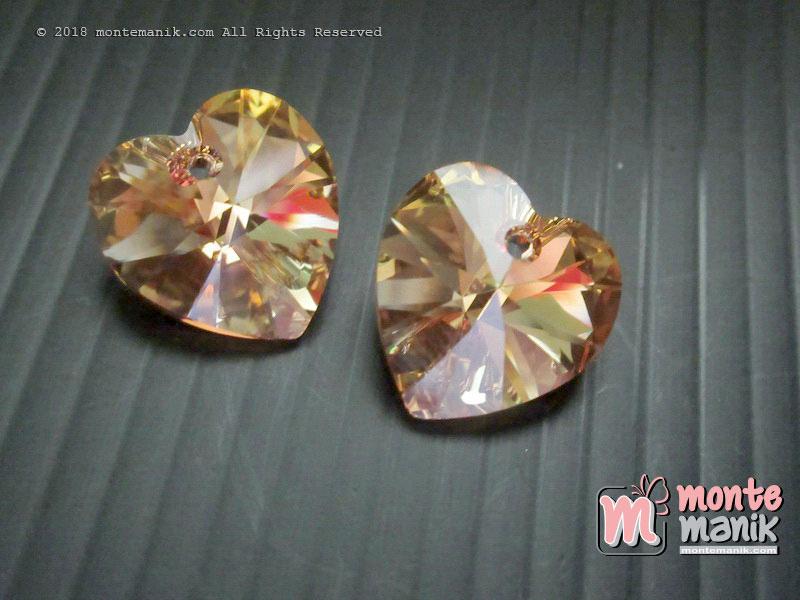 1 Pcs Kristal Swarovsky Heart Pendants 14 mm Met Sunshine AB 6228