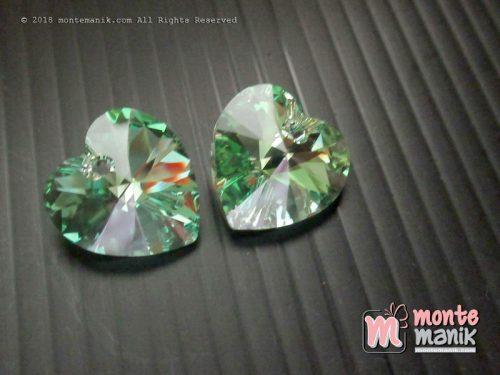 1 Pcs Kristal Swarovsky Heart Pendants 14 mm Peridot AB 6228