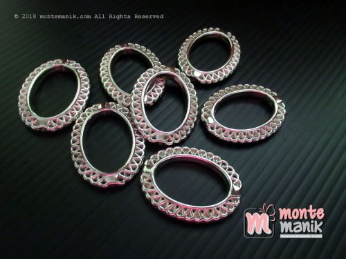 12 Pcs Pembatas manik Plastik Oval Nikel 3,2 x 2,5 mm (SPACER-036)