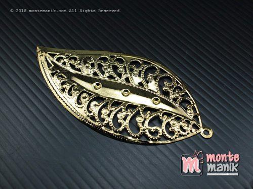 3 Pcs Ornamen Daun Besar Emas 7 x 5 cm (OLT-037)